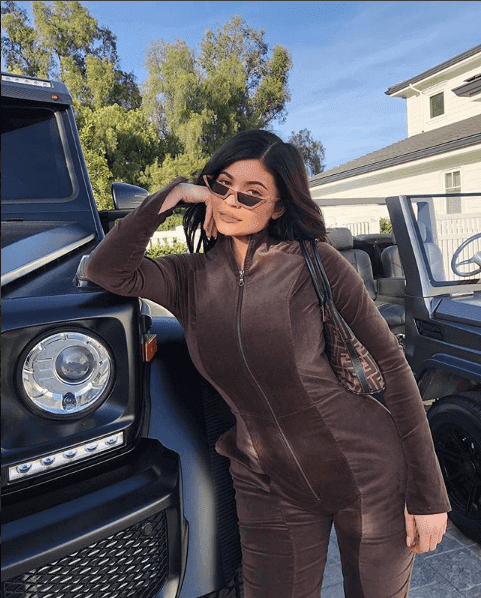 Kylie Jenner And Stormi Out For A Stroll wearing Fendi Gear & Makeup look