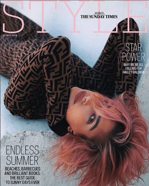Hailey Baldwin's ThestStyle Cover With Her New Purple Hair And Simple Makeup Look
